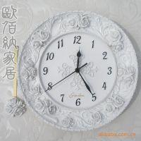 欧佰纳家居饰品 客厅创意钟表 纯白色欧式田园玫瑰超静音挂钟批发