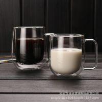 创意双层隔热咖啡杯耐热玻璃水杯透明果汁杯带盖牛奶杯带把马克杯