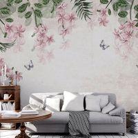 复古欧式手绘花卉卧室沙发电视背景墙定制大型无缝墙布壁画