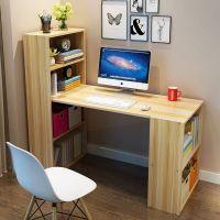 简约台式电脑桌带衣柜连体书桌书柜书架一体组合家用学生学习书台