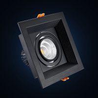 单头黑色方型10W led双头格栅灯射灯 嵌入式斗胆天花灯 COB筒灯5W