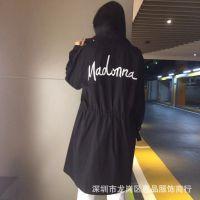 旭美娜19年春新款时尚休闲欧韩版长款风衣外套品牌折扣女装淘宝直播货源