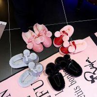 棉拖鞋女高跟棉鞋韩版可爱冬季保暖加绒厚底PU皮室内可爱毛球鞋