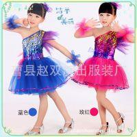 新款六一儿童演出服装女童节日舞蹈服纱裙 幼儿亮片现代舞表演服