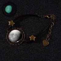 欧美新款夜光手链亚马逊热卖 个性发光宇宙星空手链 绿光玻璃饰品