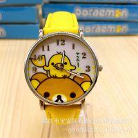 最新儿童手表 仿皮小学生手表可爱卡通轻松熊手表