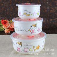 维奥多厂家定制卡通女孩骨瓷碗三件套 微波炉饭盒骨瓷碗可定制画面logo