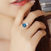 厂家直销清澈蓝色立方体魔方S925银戒指活口调节气质创意礼物女款