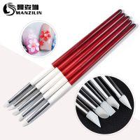 跨境专供美甲笔 5支装红白杆硅胶笔 高档木杆雕刻笔 镂空笔白头