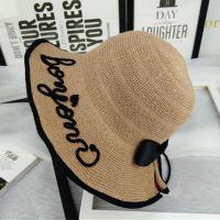 韩版新款可折叠棉麻遮阳帽女夏沙滩草帽户外休闲蝴蝶结宽边渔夫帽