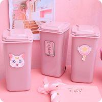 可爱粉色桌面垃圾桶少女心收纳笔筒创意迷你小仙女书桌有盖收纳筒