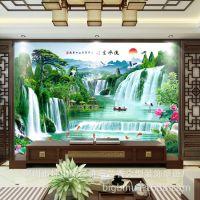 中式5d电视背景墙壁纸墙纸客厅3D流水生财山水风景画壁画影视墙布