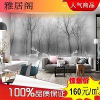广东北欧风格灰色空间 抽象树林 瓷砖 石材大板客厅 电视背景墙
