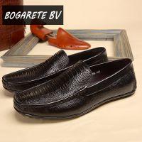 广州男鞋批发代发 冬季男式豆豆鞋牛皮真皮低跟 新款懒人帆船鞋子
