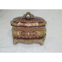 库存陶瓷奢华首饰盒古典家居软装饰品陶瓷工艺品配树脂摆件梳妆盒