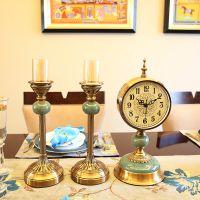 欧式美式客厅复古大号座钟台钟摆件创意家居卧室床头柜钟表装饰品
