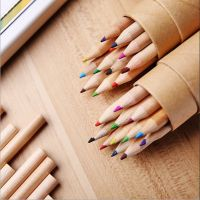 韩版文具 牛皮纸筒装彩色铅笔 12色 12支装带卷笔刀盖 绘图彩铅
