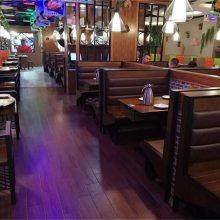 宁波市特色菜馆桌椅批发,弧形卡座沙发餐桌椅子组合效果
