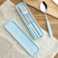 创意户外野餐便携式餐具套装 餐厅食堂彩色陶瓷不锈钢勺子筷子叉