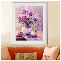 大幅紫色典雅满钻十字绣客厅简约花卉钻石绣3D蝴蝶珍珠粘贴钻石画