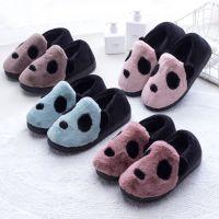 2018秋冬季棉拖鞋包跟卡通熊猫家居防滑保暖居家男女月子拖鞋批发