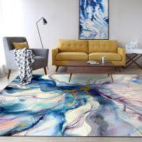 跨境一件代发时尚抽象艺术彩色水墨蓝紫金色卧室客厅地垫地毯