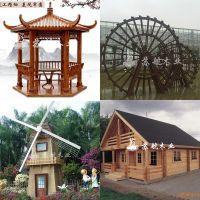 定制园林防腐木景区指示牌 木制栅栏 售货屋 木屋 园林小品景观水车