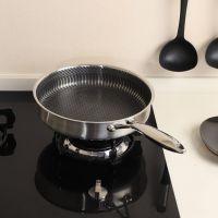 直销304不锈钢平底锅不粘锅家锅电磁炉燃气灶通用煎锅一件代发