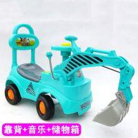 新款 儿童挖土机可坐可骑 挖掘机 宝宝工程车 挖挖机 玩具音乐