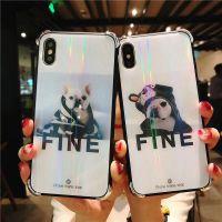 ins炫彩网红 iphonex玻璃手机壳 法斗犬苹果7 plus四角防摔硅胶套