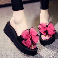 夏季韩版坡跟厚底时尚拖鞋室外高跟蝴蝶结凉拖鞋女夏天沙滩鞋外穿