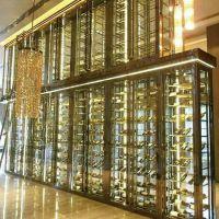 佛山林方不锈钢定做加工:现代中式不锈钢酒柜、红酒架