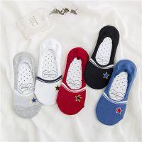 新款春夏船袜精致刺绣星星隐形袜子全棉袜套透气女士日系短袜潮流