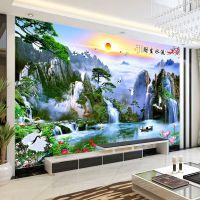 中式5d电视背景墙壁纸墙纸客厅3D流水生财山水风景画无缝壁画