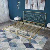 工厂批发简约几何设计卧室双人金属床