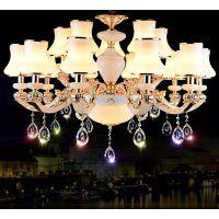 欧式简约白色锌合金蜡烛水晶LED吊灯6头8头15头客厅餐厅卧室灯