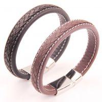 ebay速卖通亚马逊热卖饰品黑色皮绳皮革编织手链钛钢扣子男士手镯