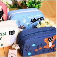 新品创意韩版文具笔袋 可爱卡通图案笔袋 黑猫一家文具收纳笔袋