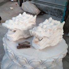 石雕龙头汉白玉水池喷水龙头墙壁挂件大理石水景流水动物装饰喷泉雕塑摆件曲阳万洋雕刻厂家定做