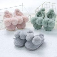 金磊棉拖鞋2236儿童家居秋冬室内外卡通毛球棉拖中童宝宝拖鞋批发
