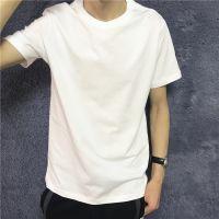 体恤t恤男士纯色微弹纯棉体恤男宽松圆领短袖纯色半袖纯棉打底衫