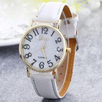 Geneva日内瓦手表批发 女款数字皮带腕表 简约大数字时尚贝壳面