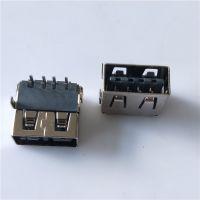USB 正反插 加高母座板上双排DIPA母双面90度插板加垫片平口 黑胶 铁壳