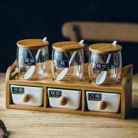 创意陶瓷调味罐日式厨房调料罐瓶套装双层六件套调味盒辣椒罐