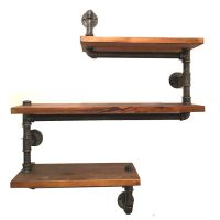 美式乡村多功能实木铁艺水管置物架多层客厅收纳整理实木隔板花架