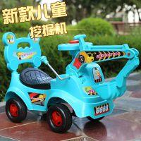儿童挖掘机带音乐四轮助步车滑行溜溜车宝宝玩具童车一件代发