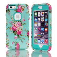苹果iPhone6plus双层保护套 6plus手机保护壳 兰花硅胶防摔外壳潮