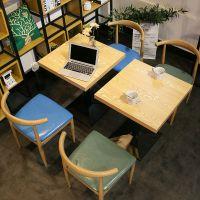 奶茶店休闲桌椅简约小吃快餐店牛角椅铁艺咖啡厅饭店餐饮面馆组合
