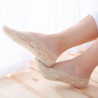 浅口船袜女袜子超薄39冰丝薄款39-42裆蕾丝硅胶大码普通短袜防滑