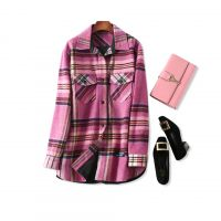 18秋冬新品 慵懒腔调!粉色格子 宽松廓形加厚羊毛呢衬衫式外套女